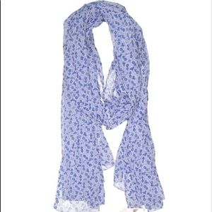 Bijoux Terner blue and white printed scarf